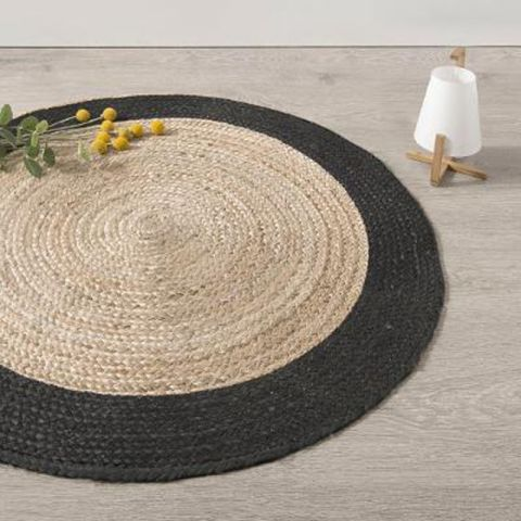 tapis rond en jute vegy mood 120cm noir. Black Bedroom Furniture Sets. Home Design Ideas