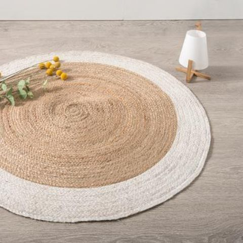 tapis jute rond vegy mood 120cm blanc. Black Bedroom Furniture Sets. Home Design Ideas