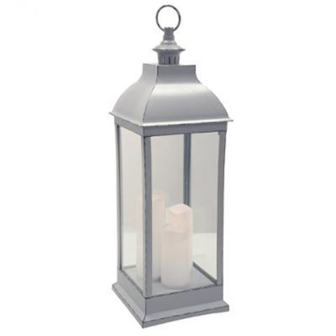 "Lanterne Bougies LED ""Antique"" 71cm Gris"