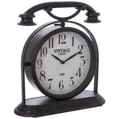horloge poser industriel phone 32cm noir. Black Bedroom Furniture Sets. Home Design Ideas