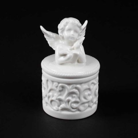 Boite Ange Porcelaine Forme Rond