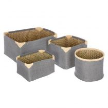 "Lot de 4 Paniers de Rangement Osier ""Dream"" Gris"