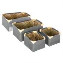 "Lot de 4 Paniers de Rangement Osier Rectangulaire ""Dream"" Gris"