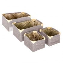 "Lot de 4 Paniers de Rangement Osier Rectangulaire ""Dream"" Taupe"