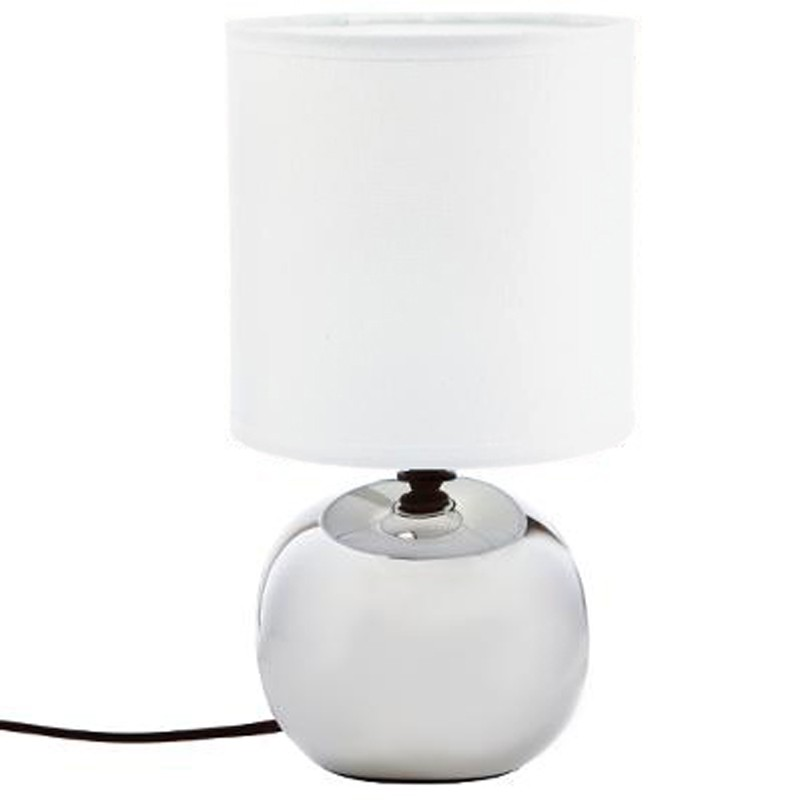 lampe poser c ramique boule 25cm argent blanc. Black Bedroom Furniture Sets. Home Design Ideas