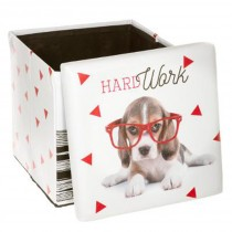"Pouf Coffre Pliable ""Hard Work"" 38cm Rouge"