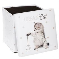 "Pouf Coffre Pliable ""Urban Cat"" 38cm Gris"