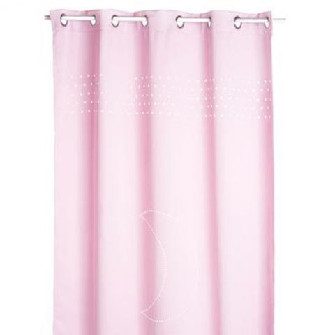 Rideau occultant lune 140x260cm rose for Rideau occultant rose pale
