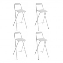 "Lot de 4 Tabourets de Bar ""Louna"" Blanc Trend"