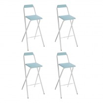 "Lot de 4 Tabourets de Bar ""Louna"" Bleu Trend"