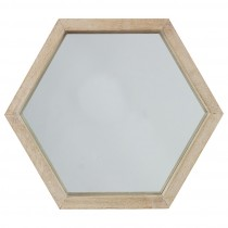 "Miroir Hexagone Bois ""Scandinave"" 37cm Naturel"