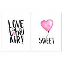 "Lot de 2 Affiches Murales Citation ""Coeur"" 30x40cm"
