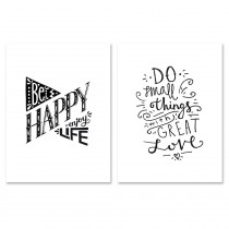 "Lot de 2 Affiches Murales Citation ""Be Happy"" 30x40cm"