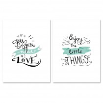"Lot de 2 Affiches Murales Citation ""Little Things"" 30x40cm"