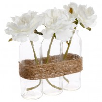 "Composition Florale Artificielle ""Tube"" 23cm Naturel"