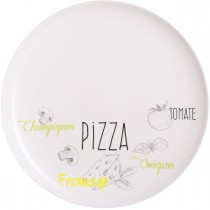 "Lot de 6 Assiettes Plates ""Pizza"" 32cm Blanc"
