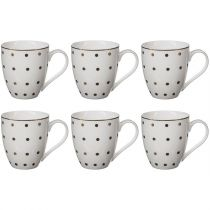 "Lot de 6 Mugs à Pois Porcelaine ""Jumbo"" 550ml Or"