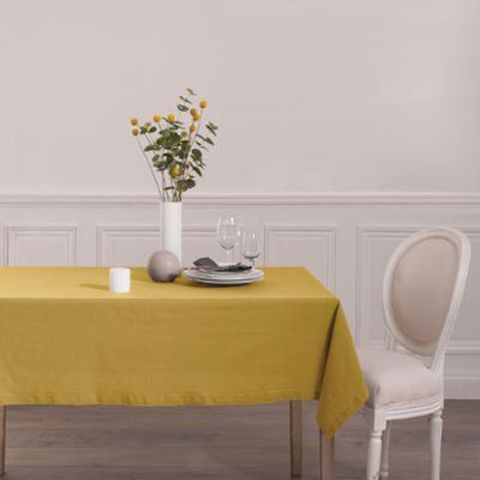 """Nappe Rectangulaire """"Chambray"""" 140x240cm Ocre"""