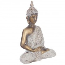 Statue Bouddha Assis 27cm Or & Blanc