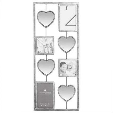 p le m le miroir en m tal coeur 25x61cm gris. Black Bedroom Furniture Sets. Home Design Ideas