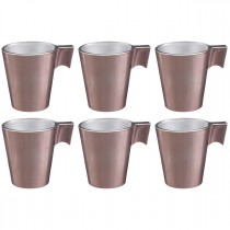 "Lot de 6 Tasses en Verre ""Irisée"" 8cl Rose"