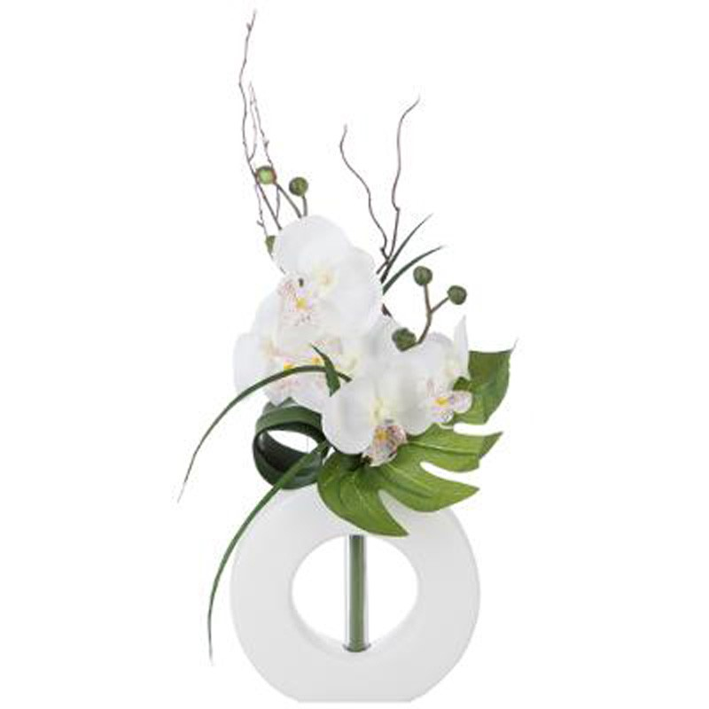 composition florale orchid e vase 44cm blanc blanc. Black Bedroom Furniture Sets. Home Design Ideas