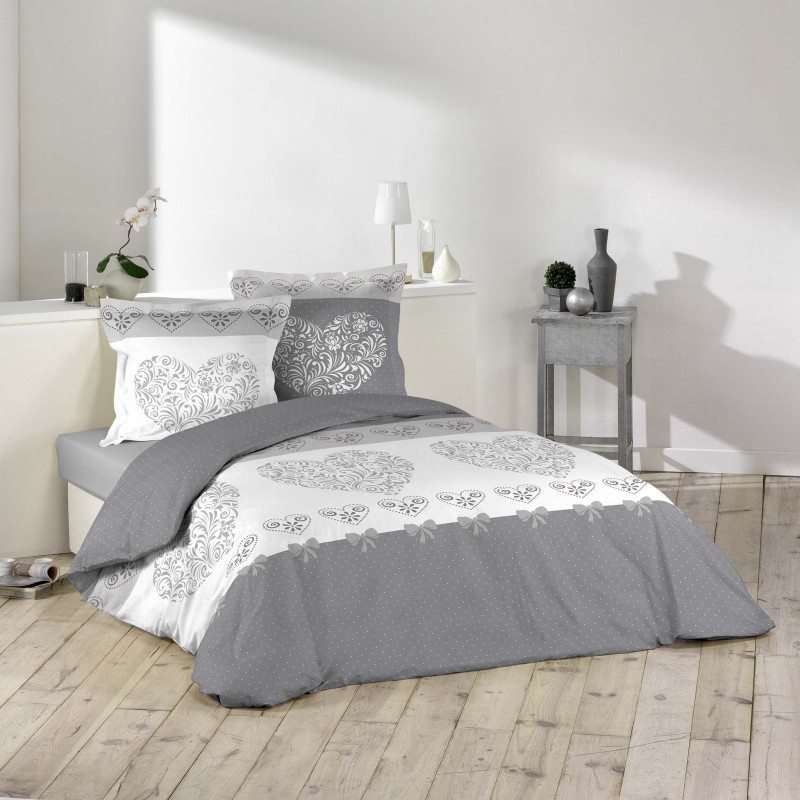 parure de lit 3 pi ces amoureux 240x260cm gris. Black Bedroom Furniture Sets. Home Design Ideas