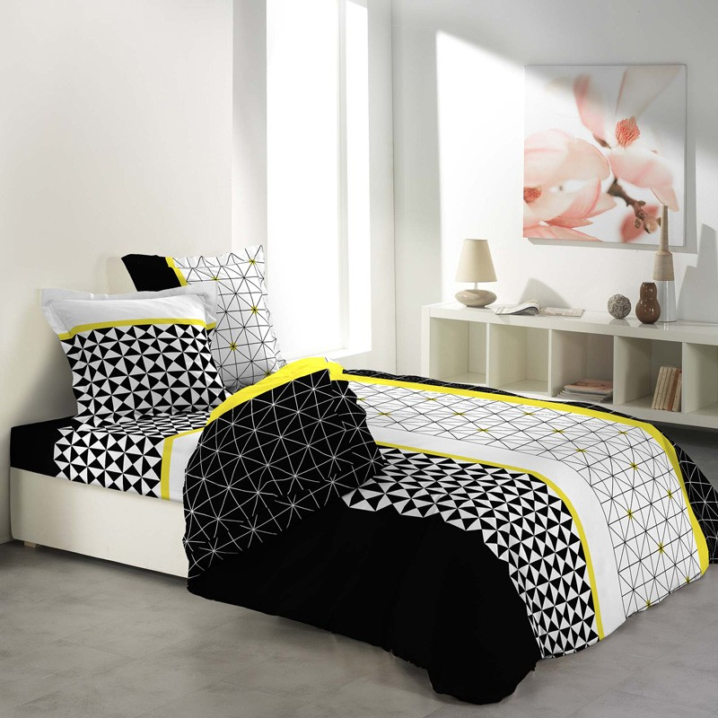parure de lit 3 pi ces yellometric 220x240cm jaune. Black Bedroom Furniture Sets. Home Design Ideas