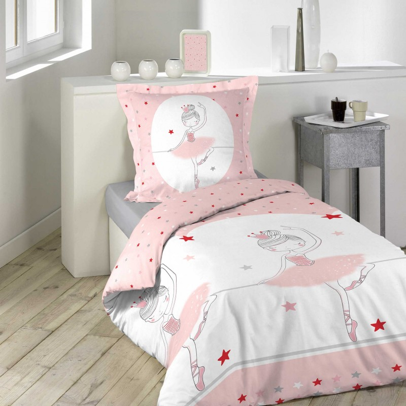 parure de lit 2 pi ces danseuse 140x200cm rose. Black Bedroom Furniture Sets. Home Design Ideas