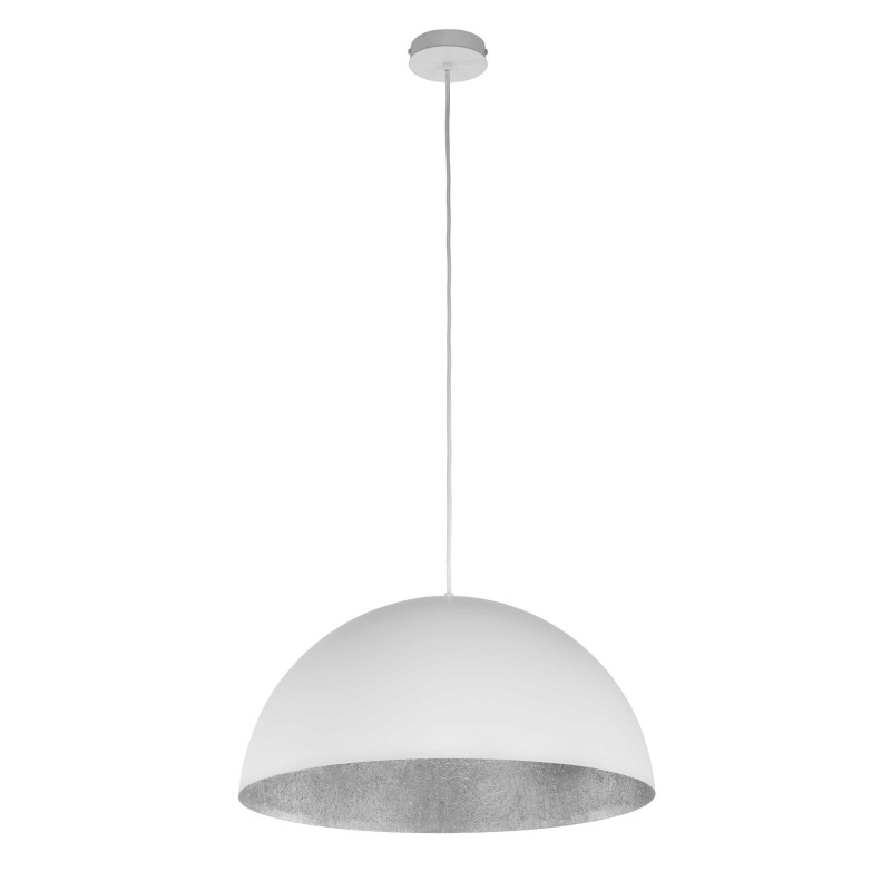 Lampe suspension design tuba 35cm blanc argent for Lampe suspension design