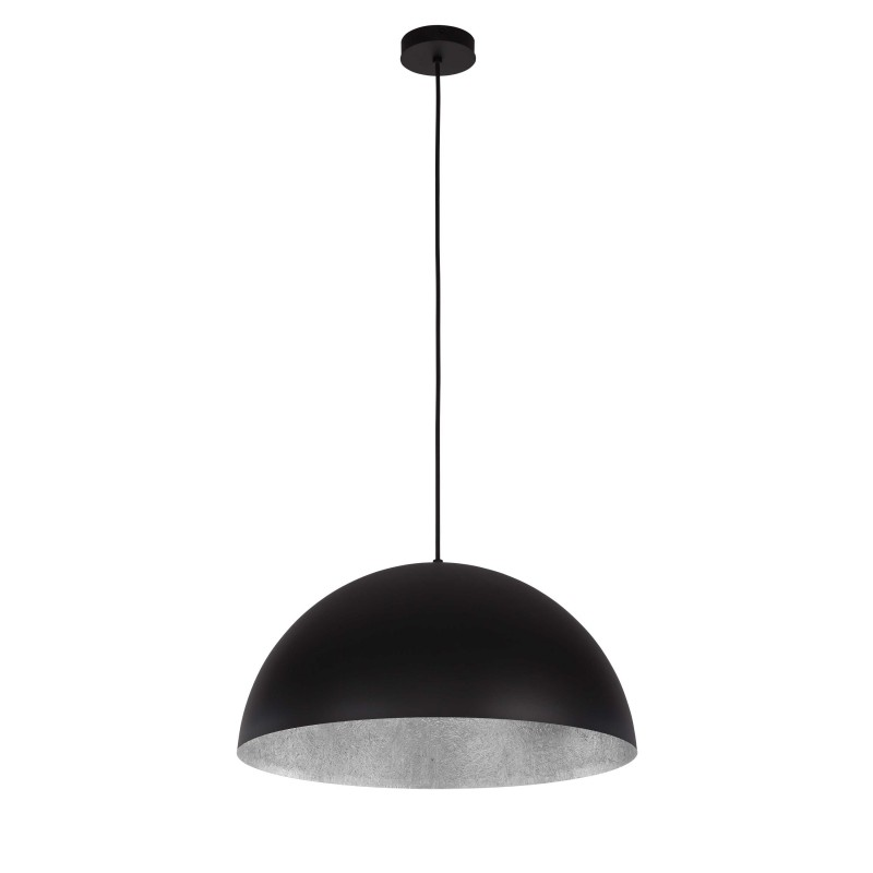 Lampe suspension design tuba 90cm noir argent for Suspension design noir