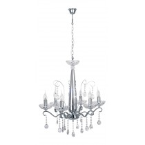 "Lustre Suspension 6 Têtes ""Alessa"" 61cm Transparent"
