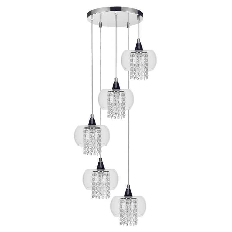 lampe suspension 5 t tes cordia 42cm transparent. Black Bedroom Furniture Sets. Home Design Ideas