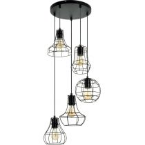 "Lampe Suspension 5 Têtes ""Outline"" 46cm Noir"