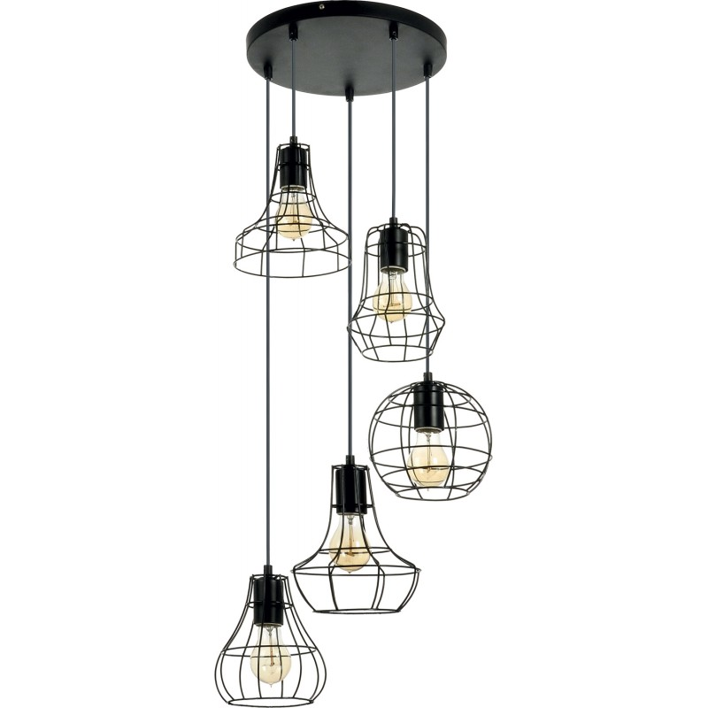 lampe suspension 5 t tes outline 46cm noir. Black Bedroom Furniture Sets. Home Design Ideas