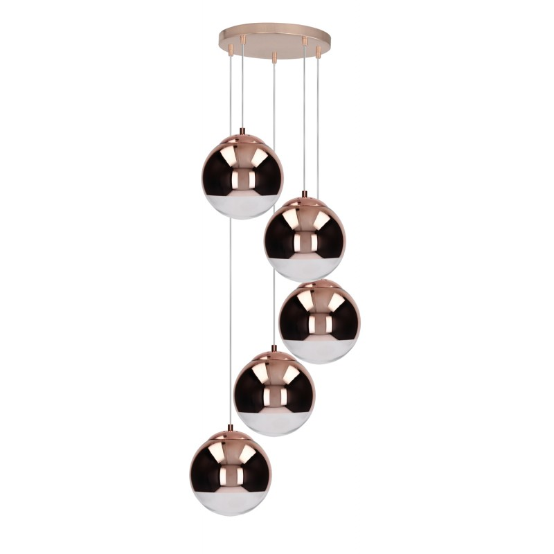 lampe suspension boule 5 t tes gino 48cm cuivre. Black Bedroom Furniture Sets. Home Design Ideas