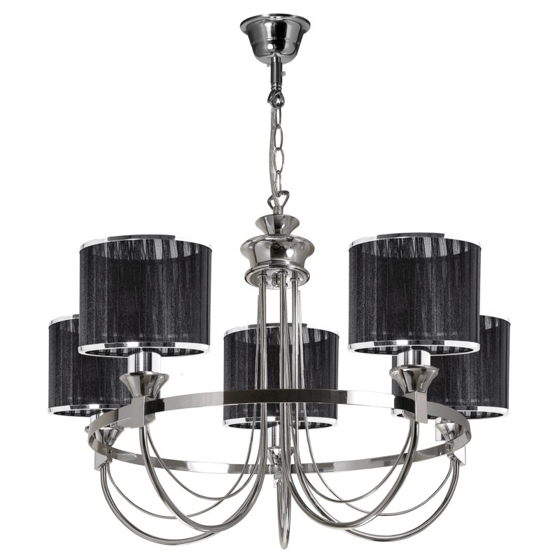 lustre suspension 5 t tes m tal anina 64cm noir. Black Bedroom Furniture Sets. Home Design Ideas