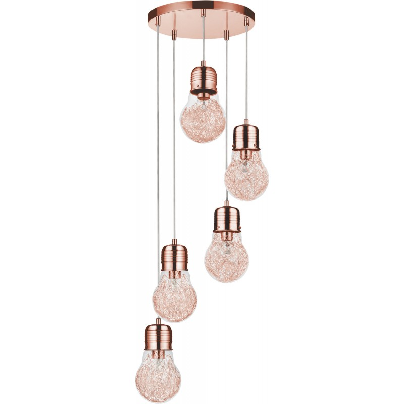 lampe suspension 5 t tes bulb 35cm cuivre. Black Bedroom Furniture Sets. Home Design Ideas