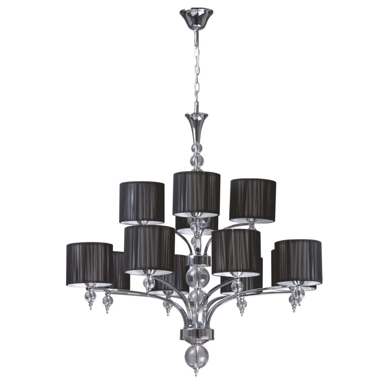 Lustre suspension 12 t tes lyon 85cm noir for Lustre ou suspension
