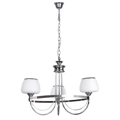 "Lustre Suspension 3 Têtes ""Ronda"" 54cm Chrome"