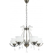 "Lustre Suspension Antique 5 Têtes ""Alpena"" 64cm Laiton"