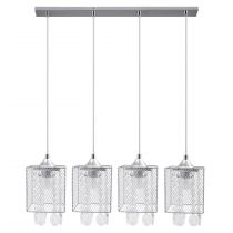 "Lampe Suspension 4 Têtes Métal ""Gracja"" 73cm Chrome"
