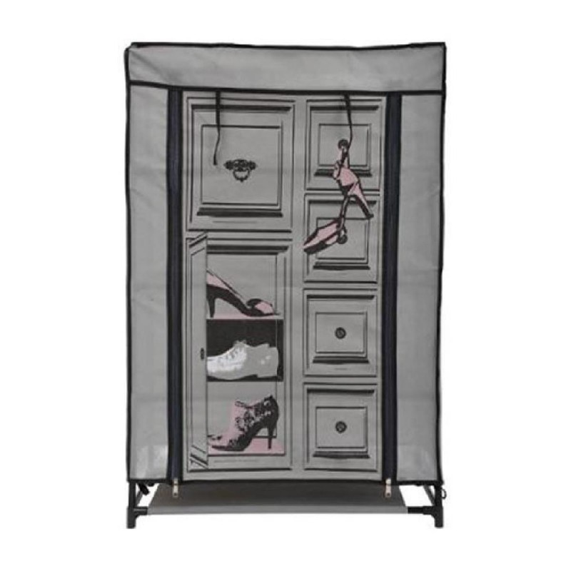 armoire chaussure 90cm gris rose. Black Bedroom Furniture Sets. Home Design Ideas