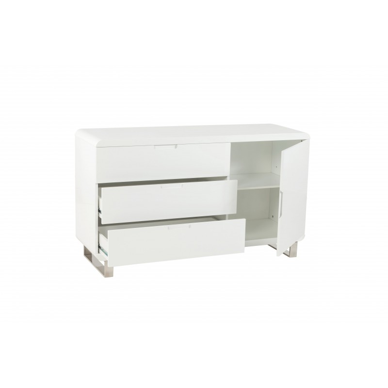 Commode 3 tiroirs bois laqu blanc - Commode blanc laque fly ...