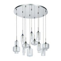 "Lampe Suspension 12 Têtes ""Larissa"" 65cm Chrome"
