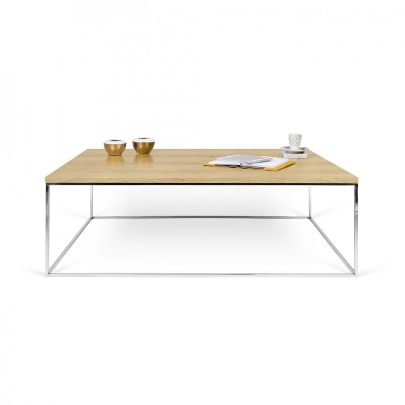 Temahome table basse gleam 120cm ch ne m tal chrom for Table basse chene metal