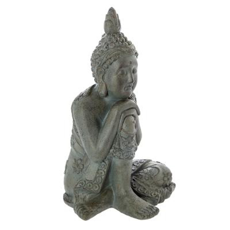 statue d co bouddha assis 55cm gris. Black Bedroom Furniture Sets. Home Design Ideas