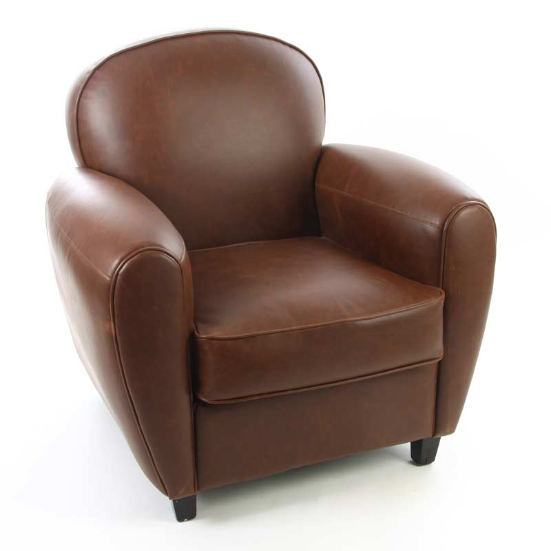 fauteuil club simili cuir marron 75 cm. Black Bedroom Furniture Sets. Home Design Ideas