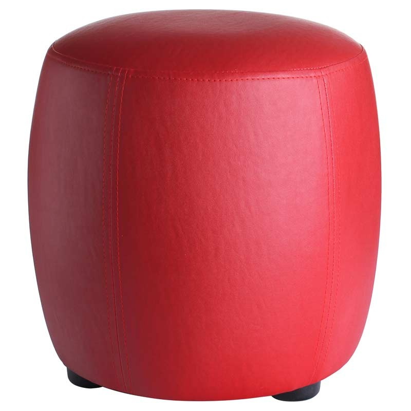 pouf rond simili cuir rouge 31 5cm. Black Bedroom Furniture Sets. Home Design Ideas