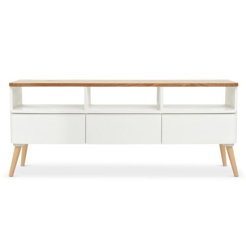 "Meuble TV Scandinave ""Arvika"" 120cm Blanc"